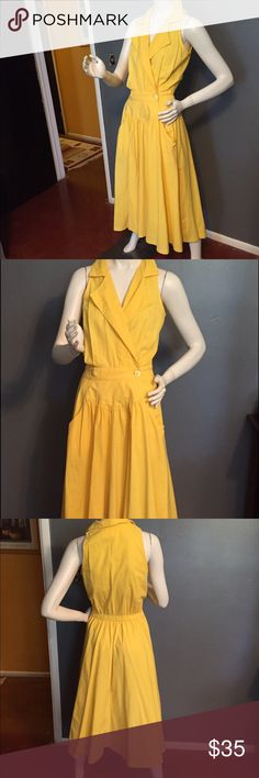 """Vintage Dawn Joy  yellow dress. Vintage Dawn Joy dress. Length 51"""", bust 34"""", waist 30 when stretched  (has elastic in the back). Colour is yellow. No tags for fabric but feels like cotton. Wash instructions on tag. Vintage Dresses"""