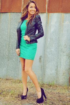 lace dress | leather jacket