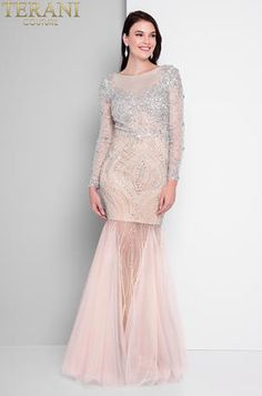 Get ready for your close up at your next soiree in this Shimmering Long Sleeve Scoop Back Prom Dress by Terani Couture. Mermaid Gown, Mermaid Prom Dresses, Bridal Dresses, Embellished Gown, Beaded Gown, Evening Gowns On Sale, Evening Dresses, Terani Dresses, Fancy Gowns