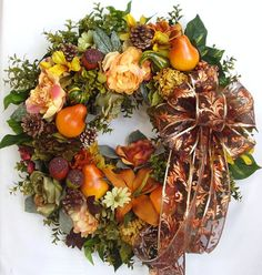 Fall, Autumn, Halloween,Thanksgiving, Fruit,Pear, Acorn, Pine Cone, Flower Door Wreath