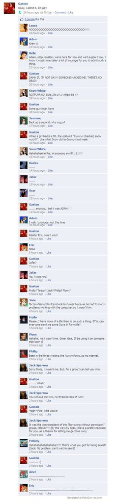 disney meets facebook Hahaha I like how shocks her parents are at the end. This whole thing is just great.