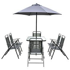 Patio Garden Set Furniture 6 Folding Chairs Table with Umbrella Gray * Very nice of you to have dropped by to view the image. (This is an affiliate link) Cheap Patio Furniture, Garden Furniture Sets, Garden Chairs, Outdoor Furniture Sets, Outdoor Decor, Rectangle Table, Glass Material, Folding Chairs, Gray