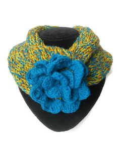 Hand knit women scarf Multicolor wool Short scarf Flower Blue and yellow scarf Women accessories Gift for her Short Scarves, Neck Scarves, Ornaments Design, Red Silk, Wool Scarf, Womens Scarves, Hand Knitting, Wool Blend, Yellow