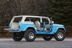 The new #Jeep Chief is based on the current Wrangler with a design that pays homage to the full-size Jeep Cherokees of the 1970s and the classic beach rides. The exterior was given a vintage Ocean blue paint contrasted by a white, French Bread roof. The front razor grille mimics that of the original Wagoneer's and sits between two bright halogen headlights. Chrome bumpers are worn at the front and rear, http://www.wheelhero.com/rims-and-tires