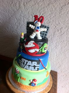 Elegant Image of Birthday Cake Birthday Cake Themed Cake Including Ghostbusters Star Wars Super Mario Cake Table Birthday, Themed Birthday Cakes, Themed Cakes, 40th Birthday Cakes For Men, 80s Birthday Parties, Retro Birthday, Birthday Games, Birthday Recipes, 40 Birthday