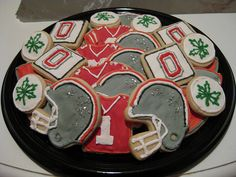 Ohio State Buckeyes- need to do these for Kel. It would be better if it was Texas Longhorns cookies though.