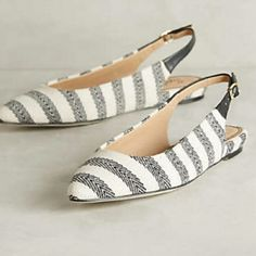 New splendid flats Brand new! Do not come with box.. Cotton canvas textured fabric flats from Splendid and sold by Anthropologie. Striped design in black and white/cream. Adjustable buckle at ankle. Vegan leather. Shoes are not damaged. Splendid Shoes Flats & Loafers