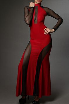 Black & Red Detailed Mesh  Long Sleeve Maxi Dress