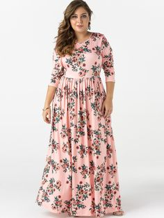 Plus Size Bungundy Floral Pattern Long Sleeves Maxi Dress Boho Dress Plus Size, Plus Size Maxi Dresses, Types Of Dresses, Casual Dresses, Summer Dresses, Maxi Dress Wedding, Chiffon Maxi Dress, Maxi Dress With Sleeves, Floral Maxi Dress