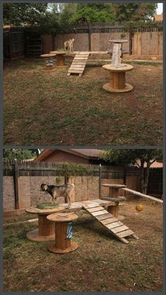 55 Inspiring DIY Backyard Projects for Your Pets - Home-dsgn - The Best Goat Playground Ideas, Tips, Plans and Images Dog Friendly Backyard, Dog Backyard, Backyard Projects, Diy Projects, Chien Halloween, Goat Playground, Playground Ideas, Backyard Playground, Dog Enrichment