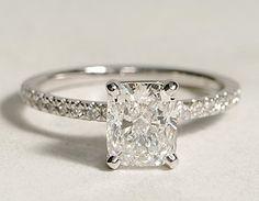 petite pave diamond engagement ring. cushion cut diamond, 18k white gold.