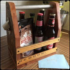 Handmade reclaimed beer carrier tote metal old wooden work bench ruler Father's Day present for Daddy... Not my own DIY, but the blog does link to the tutorial I used. My husband LOVES this!