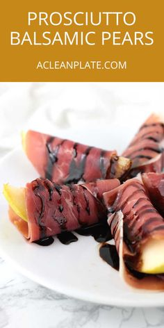 "What's your favorite ""weird"" food combination? Mine is fruit with prosciutto or balsamic vinegar, which makes these Balsamic-Glazed Prosciutto-Wrapped Pears one of my all-time favorite things! https://www.acleanplate.com/recipe/balsamic-glazed-prosciutto-wrapped-pears/"