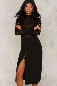 b4f2380c5e9e Lavish Alice Demi Lace-Up Midi Skirt - Black Friday Clothes   Clothes  Schöne Hintern