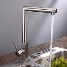 Contemporary Style Brass Centerset Brushed Finish Kitchen Faucet - FaucetSuperDeal.com