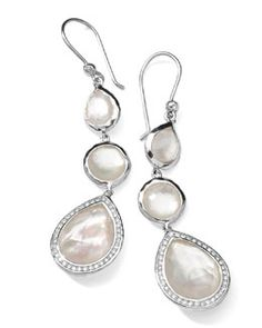 Y1R1K Ippolita Stella 3-Drop Earrings in Mother-of-Pearl & Diamonds