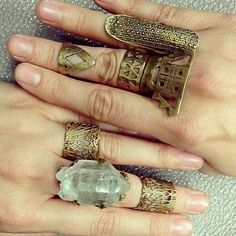 Bronze boho rings %u2013 raw crystal, intricate detail, chunky statement pieces and midi rings.