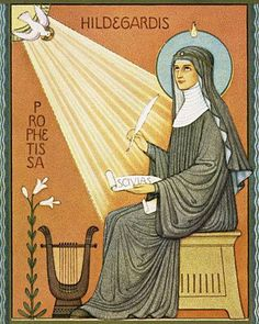 A Liturgy and brief homily in honor of the Feast of Hildegard of Bingen, 17 September Collect: O Fire of Love by whose grace your servant Hildegard, kindled with the fire of your love, became a bur… Catholic Saints, Catholic Religion, Roman Catholic, Book Writer, Disney Characters, Fictional Characters, Aurora Sleeping Beauty, History, Illustration