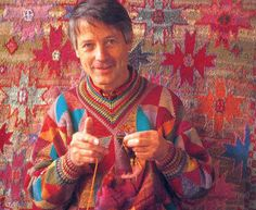 Kaffe Fasset ... knitting! the background is also knitted!