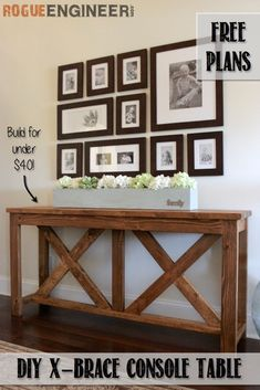 32 DIY TV and Media Consoles For Entertainment in Style <br> For creative home decor ideas be sure to make a DIY media console table or cabinet for TV & stereo. Diy Furniture Table, Diy Furniture Plans Wood Projects, Diy Table, Furniture Ideas, Rustic Furniture, Furniture Stores, Furniture Buyers, Outdoor Furniture, Farmhouse Furniture