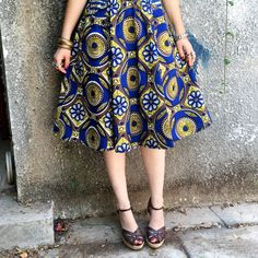 Blue geometric African print skirt
