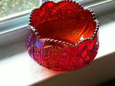 *RUBY RED CARNIVAL GLASS ~ vintage, Ruby Red carnival glass floral compote