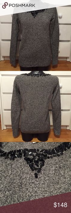 J. Crew Grey Wool Sweater with Sequin Neck Line This sweater is in great condition and has only been worn once or twice. It is super toasty for the colder months. Feel free to make an offer. 😊 J. Crew Sweaters Crew & Scoop Necks