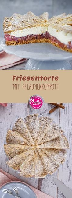 Friesentorte / Mürbteigtorte mit Pflaumenkompott The Frisian cake originally comes from East and North Friesland and consists of several layers of pastry made from short pastry or puff pastry and a creamy cream and plum jam or compote. Italian Pastries, French Pastries, Baking Recipes, Cake Recipes, Dessert Recipes, Sully Cake, Short Pastry, Plum Jam, Sweets