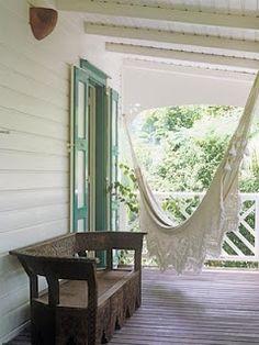 scalloped hammock on porch