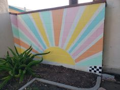 In 2019 we bought a new home and I finally had a backyard I could make my own, any way I wanted, without permission. Outdoor Wall Paint, Outdoor Walls, Beach Wall Murals, Mural Wall Art, Painted Wall Murals, Diy Wall Painting, Mural Painting, Garden Mural, Garden Wall Art