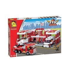 Oxford Lego Style Kids Block Toy 911 Fire Service Fire Engine Ladder Tuck FD3291