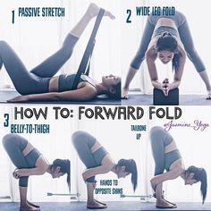 #JasmineYogaTutorial : #HamstringFlexibility #ForwardFold The forward fold is one of the first poses I wanted to master when I first started yoga. Once I got more flexible, I was able to touch my toes but my back was very rounded. It was only after two years that a teacher corrected me. I was told to bend my legs n press my belly against the thighs to lengthen the lower back. Ooo that completely changed my forward fold. I have here the top two pictures how you can rather passively stretch…