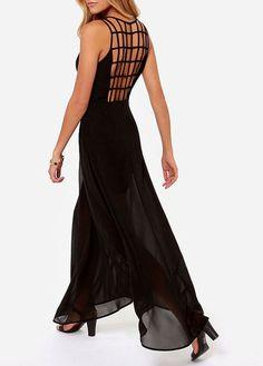 Charming Black Cutout Pattern Round Neck Sleeveless Dress