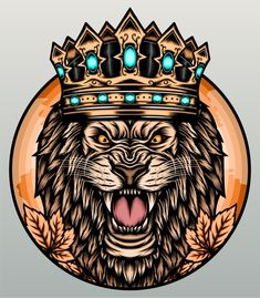 Watercolor Lion, Lion Illustration, Roaring Lion, Arrow Logo, Mascot Design, Badge Logo, Hand Logo, Supermarket Logo, Abstract Logo
