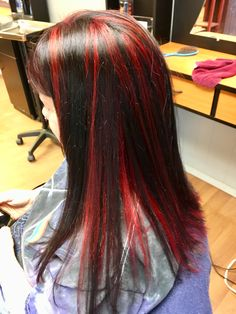 Black Hair With Red Highlights, Hair Color, Long Hair Styles, Beauty, Beleza, Haircolor, Long Hairstyle, Colored Hair, Long Hairstyles