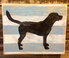 Distressed blue and white stripes with black lab wood painting decor wall art sign  on Etsy, $26.00