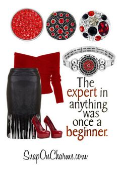 Red and black outfit with Magnolia and Vine accessories