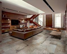 Neutrální barvy v obýváku skvěle doplní dlažba Rex, série La Roche s přirozeným vzhledem patiny. Formát je 40 x 80 cm a cena 1590 Kč/m^2 ; ProCeram