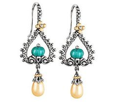 Barbara Bixby Sterling/18K Gemstone & Cultured Pearl Drop Earrings