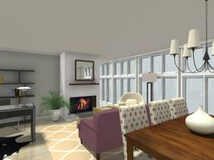 How about a cozy evening in front of the fire with an awesome view & a book?   Design a room where you would be cozy & comfortable:  http://www.roomsketcher.com/interiordesign  3D floor plan for a great room with dining area and living room area featuring a fireplace and wall of picture windows designed in RoomSketcher Pro by Frankie of Team RoomSketcher   #floorplan #livingroom #diningroom #fireplace