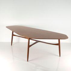 Peter Hvidt and Orla Mølgaard-Nielsen Attributed; Teak and Oak Coffee Table, c1958.