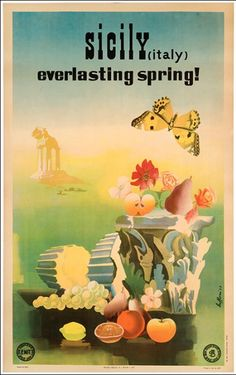Vintage Travel Poster - Sicilia - Spring without end - by Buffoni - Vintage Italian Posters, Poster Vintage, Vintage Artwork, Vintage Travel Posters, Vintage Stuff, Tourism Poster, Cafe Art, Railway Posters, Vintage Italy