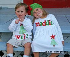 Christmas Dress Shirt Set - Brother Sister Sibling Set -  Christmas Applique Outfits. $60.00, via Etsy.