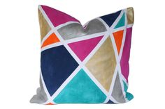 As if we weren't sold on the name alone, Kari Fisher's Geodeezy Pillow is a funky and colorful addition to our home. 100% linen with a down/feather insert.