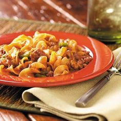 Beef and noodle casserole   This is one of my favorite recipes! We just put one can of tomato soup and used Velveeta cheese instead of shredded cheese.