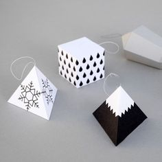DIY Origami Ornaments - extention activity for a wintry day Paper Christmas Decorations, Christmas Paper, Christmas Crafts, Christmas Ornaments, Tree Decorations, Christmas Lights, Xmas, Origami Ornaments, Paper Ornaments