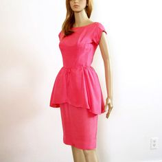 1950s Peplum Dress Late 50s Hot Pink Wiggle Dress Extra Extra Small ($76) via Polyvore featuring dresses, light pink, women's clothing, peplum dress, long peplum dress, sleeved dresses, white sparkly dress and white peplum dress