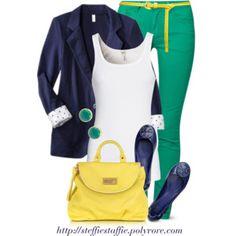 Navy, Green & Yellow