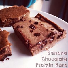 Ripped Recipes - Banana Chocolate Protein Bars - Baked protein bars with delicious melted chocolate chips!