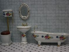 Floral Bathroom - 4 pieces (BR46) - Bathroom. Over 10,000 similar dolls house miniature products available from www.thedollshousestore.co.uk